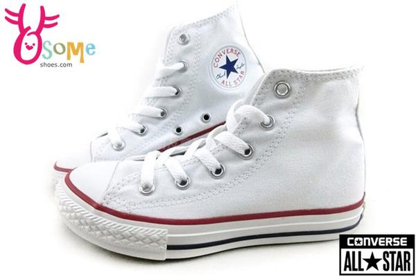 All STAR★Converse 基本款 童鞋 鞋帶 中童高筒帆布鞋 G9844#白◆OSOME奧森鞋業