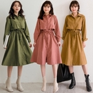 MIUSTAR 排釦抽繩綁帶斗篷式麂皮洋裝(共4色)【NH2807】預購