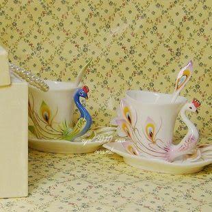 琺琅瓷 炫金孔雀開屏 咖啡杯碟