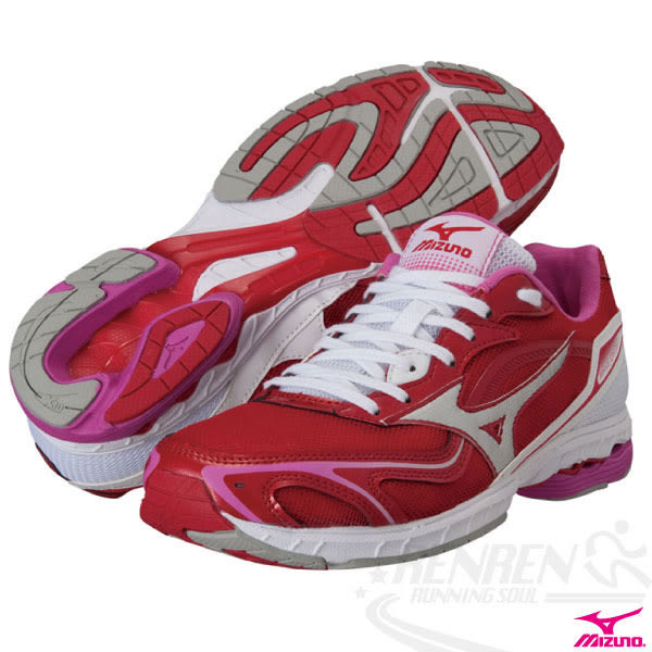 MIZUNO美津濃 女路跑鞋 (莓紅*白) WAVE IDATEN 售完不補