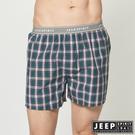 【JEEP】五片式剪裁 純棉平口褲 (綠色格紋)