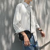冬季港風條紋白襯衫男士長袖襯衣寬鬆休閒青少年外套冬裝 街頭布衣