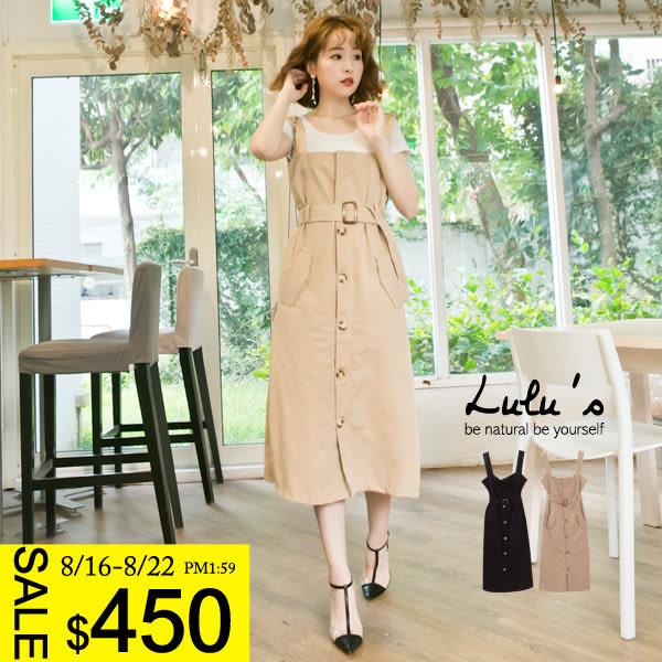 LULUS-E開釦口袋無袖洋裝-附腰帶-2色  現+預【02021306】