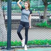 瑜珈服 運動套裝女瑜伽服跑步健身房短袖休閑速干衣薄款夏季網紅瑜珈夏天