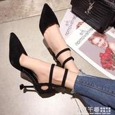 中跟鞋 春季新款尖頭一字帶高跟鞋女細跟百搭黑色單鞋中跟少女工作鞋 夢幻衣都