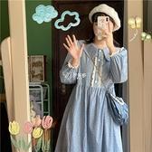 2021春季新款長袖碎花花邊長款法式少女氣質收腰寬鬆顯瘦洋裝潮