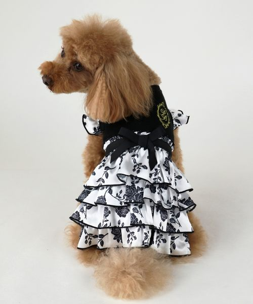 【PET PARADISE 寵物精品】Pretty Bouquet 滿版黑碎花蛋糕裙(S) 狗衣服 寵物用品 寵物衣服