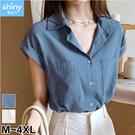 【V3390】shiny藍格子-甜美自然.純色雙口袋寬鬆短袖襯衫