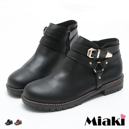 短靴首爾率性金屬雙釦圓頭低底包鞋 (MIT)