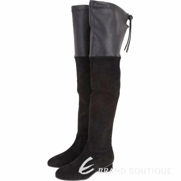 [ NG品 大放送 ]Stuart Weitzman HELENA 黑色皮革拼接抽繩過膝長靴 1990001-01