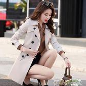 風衣女中長款新款春秋季韓版矮個子百搭大碼修身外套顯瘦大衣 都市時尚
