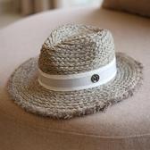 拉菲草帽毛邊禮帽爵士帽防曬遮陽帽子夏天女 潮 百搭 韓版 英倫 智慧e家