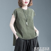 夏裝新款洋氣大碼女裝短袖t恤棉麻寬鬆顯瘦遮肚休閒百搭上衣 遇見生活