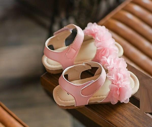 童鞋 涼鞋 立體花 韓 粉嫩 魔鬼氈 女童涼鞋 二色 寶貝童衣