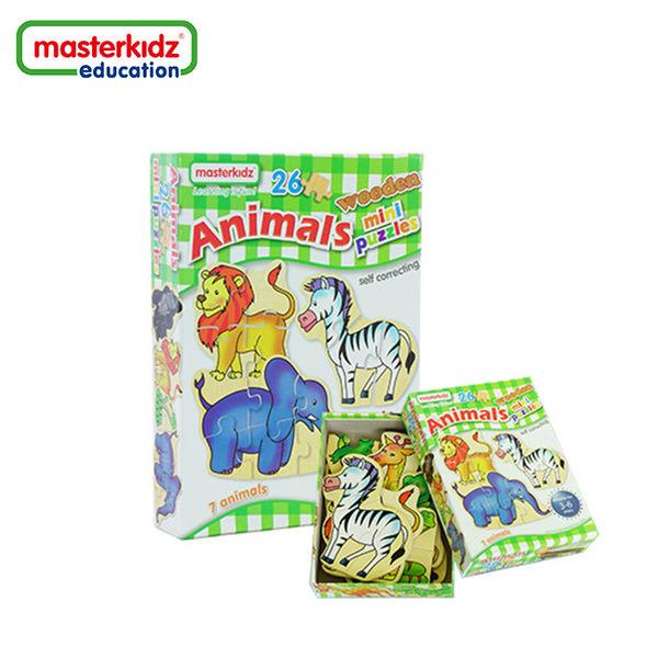 【英國Masterkidz】木製迷你拼圖盒裝 - 動物