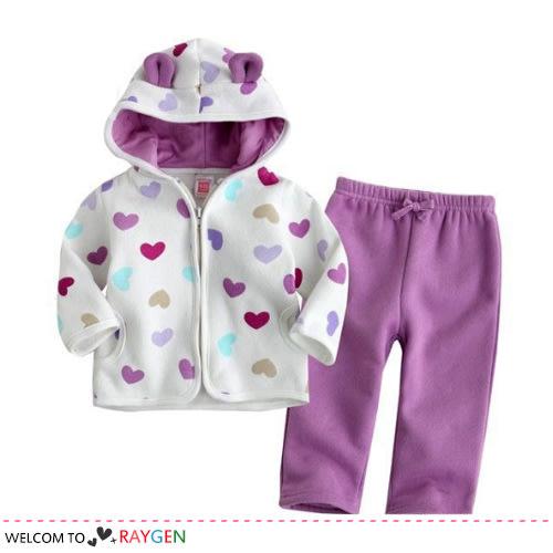 紫色愛心點點外套+長褲套裝
