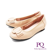 PQ (女) 圓頭大飾釦內增高娃娃鞋 女鞋 -奶茶色(另有黑)