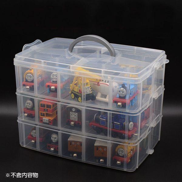 [大] 三層可拆自由分離盒 透明塑膠多用收納盒 首飾盒 (大30格) 不挑色 DE3025