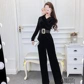 連體褲秋冬季女時尚名媛氣質韓版長袖修身顯瘦收腰長褲子 街頭布衣