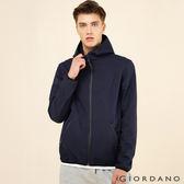 GIORDANO 男裝G-MOTION 防風保暖搖絨布連帽修身外套(66 標誌海軍藍/深寶藍)