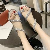 涼鞋-百搭水鑽涼鞋女夏季新款仙女風外穿平底時尚學生羅馬鞋潮 提拉米蘇