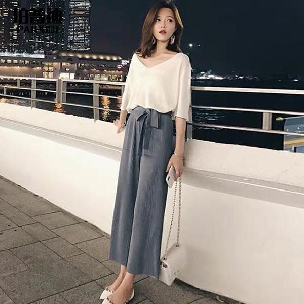 套裝 法式復古夏裝減齡時尚套裝氣質洋氣韓版高腰墜感闊腿長褲兩件套女
