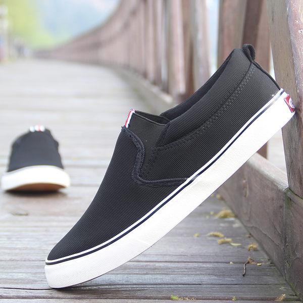 韓版透氣板鞋黑色一腳蹬懶人鞋子百搭休閒布鞋樂福鞋男 潮男街