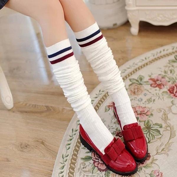 [韓風童品] 女童長筒襪 女童棉質襪子 大童長筒襪子   學生長襪   少女長筒襪子