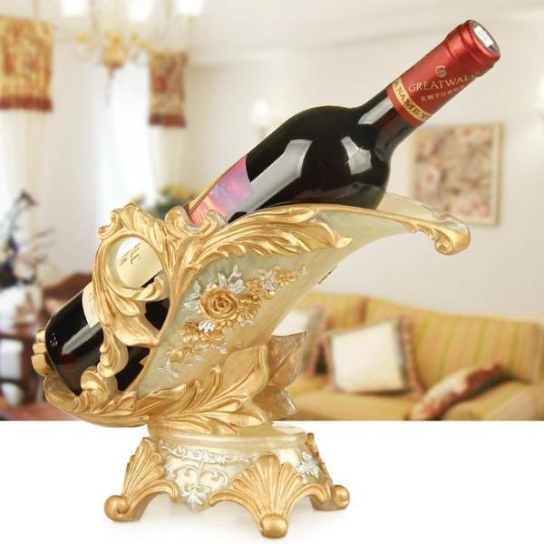 歐式葡萄酒架創意紅酒架樹脂客廳家用酒柜壁櫥裝飾品擺件空酒瓶架 暖心生活館