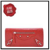 巴黎世家BALENCIAGAMONEY小銀釦羊皮釦式長夾/發財包(紅色)部落客推薦163471全新商品