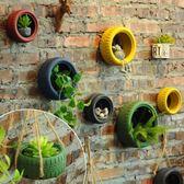 壁掛復古輪胎墻面裝飾品工業風酒吧餐廳掛墻花盆植物掛件家居創意壁掛【父親節禮物鉅惠】