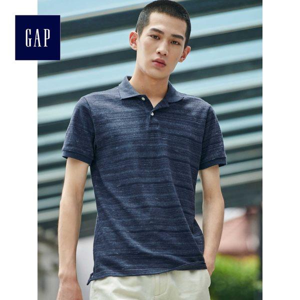 Gap男裝 舒適彈力短袖Polo衫 440720-深藍色段染