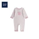 Gap男女嬰兒小熊圖案圓領長袖一件式包屁衣494249-灰白色