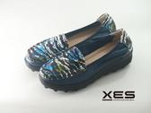XES 水波彩圖懶人鞋 優質時尚 女款 藍色