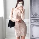 OL洋裝 2020夏裝新款韓版OL氣質蝴蝶結拼接蕾絲修身防曬包臀連身裙