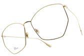 Dior 光學眼鏡 STELLAIREO4 J5G (金) 法式時尚不規則邊框款 #金橘眼鏡