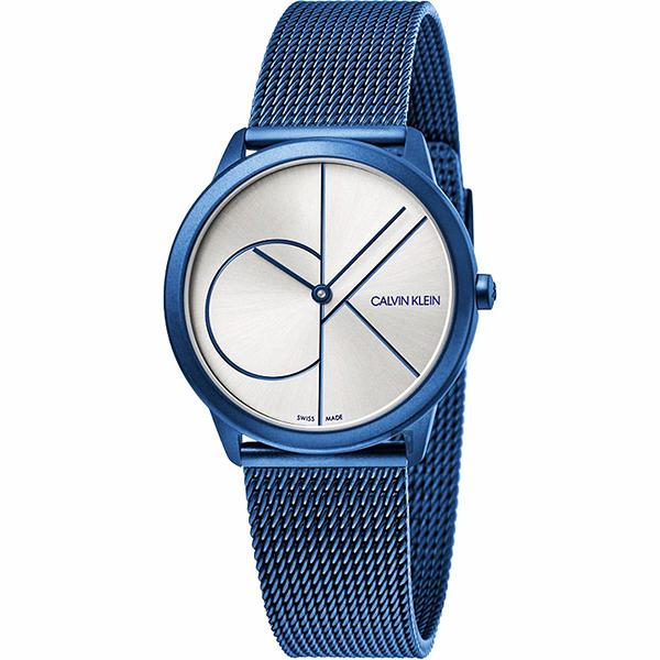 Calvin Klein CK Minimal 經典大LOGO手錶-白x藍/35mm K3M52T56