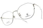 SEROVA光學眼鏡 SL398 C02 (銀) 多邊造型金屬框款 眼鏡框 #金橘眼鏡