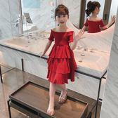 女大童女童夏裝2019新款蛋糕裙兒童裝露肩洋裝洋氣中大童網紅公主裙子 滿天星