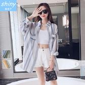 【V1898】shiny藍格子-復古隨性.條紋配色外搭襯衫罩衫外套