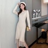 洋裝 連身裙 韓版氣質慵懶風外穿蕾絲拼接針織毛衣連衣裙8972.T510B.胖胖唯依二店