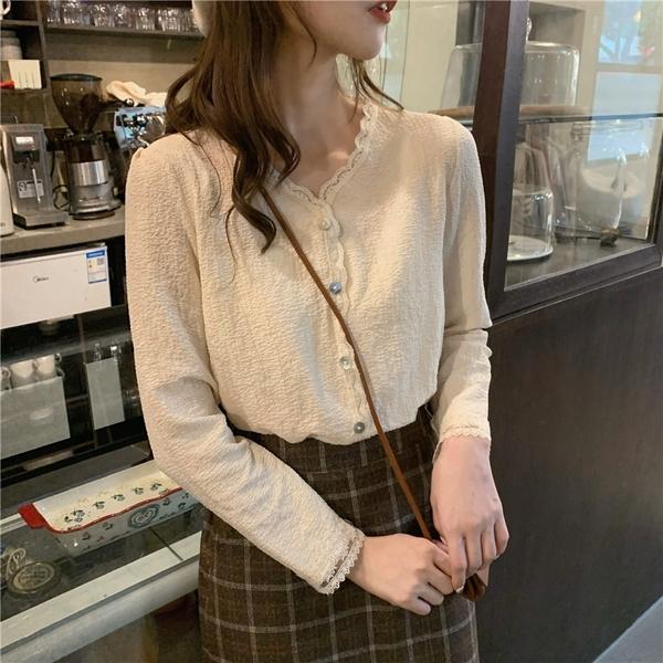 (免運)DE shop - 氣質蕾絲花邊襯衫 - GU-6622