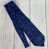 BRAND楓月 GUCCI GG 古馳 深藍底 藍塗鴉 100%絲綢 領帶 男士配件 西裝配件
