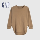 Gap女童 棉質舒適亮色圓領長袖T恤 661671-駝色