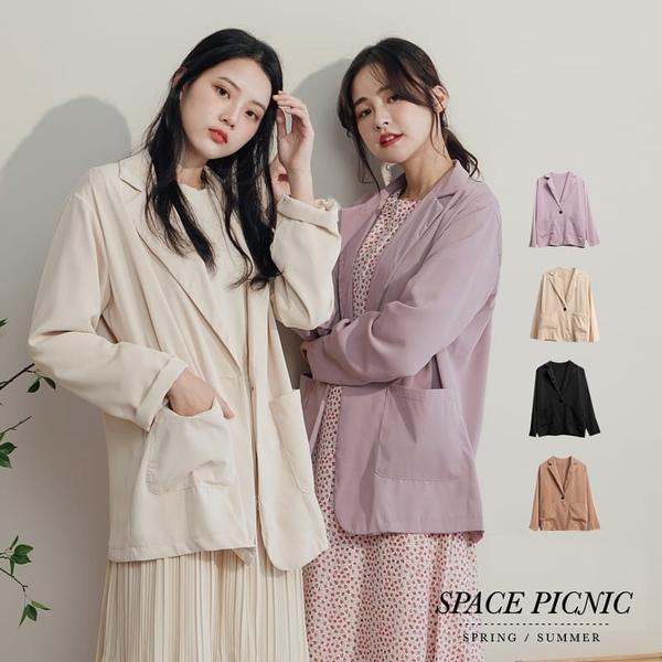 外套 Space Picnic 單釦雙口袋滑面西裝外套(現貨)【C20073058】