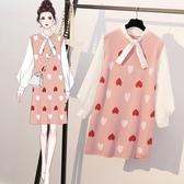 VK精品服飾 韓國風優雅甜美大碼愛心時尚拼接針織毛衣長袖洋裝
