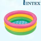 INTEX58924彩虹三環充氣水池 充氣游泳池 戲水池嬰兒洗澡盆 86cm*25cm(有附修補片)