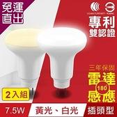 TOYAMA特亞馬 LED雷達感應燈7.5W插頭型 2入組 白光、黃光任選【免運直出】