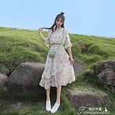 夏季洋裝 雪紡碎花連衣裙女2021年新款夏季潮流小清新收腰顯瘦氣質仙女裙子 快速出貨