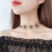 項鍊 韓版短款項鍊簡約花朵百搭頸鍊脖子飾品LJ8103『黑色妹妹』